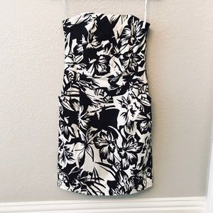 WHBM new tropical floral corset strapless dress